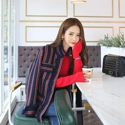 DABAGIRL - Stand-Collar Stripe Fringed Tweed Jacket