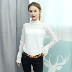 Dodostyle - Mock-Neck Lace-Overlay Top