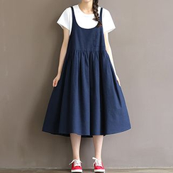 chome - Maternity Midi Pinafore Dress