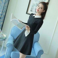 EFO - Long-Sleeve Contrast-Trim A-Line Dress