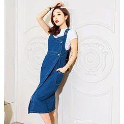 Tang House - Midi Denim Pinafore Dress
