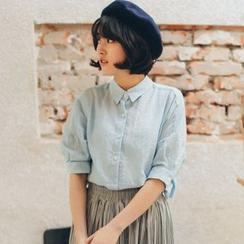11.STREET - Elbow-Sleeve Linen Shirt