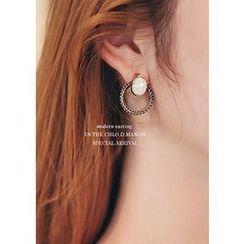 Chlo.D.Manon - Rhinestone Hoop Two-Way Earrings