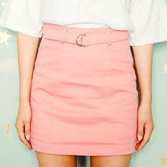 icecream12 - Mini Pencil Skirt with Belt