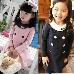 Cuckoo - Kids Round Collar Double Breasted A-line Dress