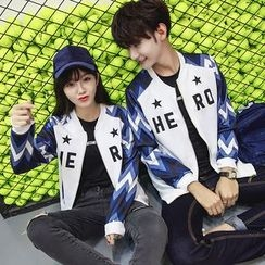 CASSY - Couple Matching Lettering Baseball Jacket