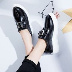 Charming Kicks - Buckled Platform Loafers