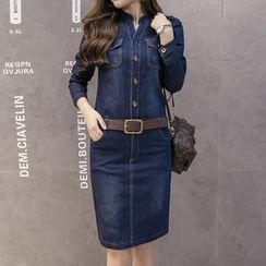 Champi - Denim Long-Sleeve Dress
