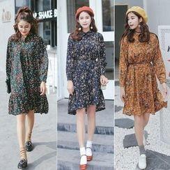 Ekim - Floral Print Long Sleeve Collared Dress
