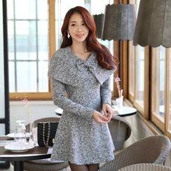 Alisha - Marled Long-Sleeve A-Line Dress