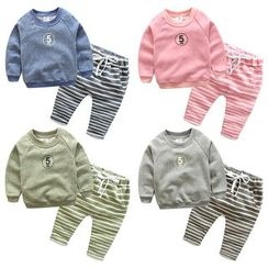 Seashells Kids - Kids Set: Number Print Sweatshirt + Striped Sweatpants