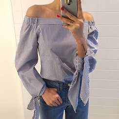 Lakoko - Tie-Cuff Off-Shoulder Blouse