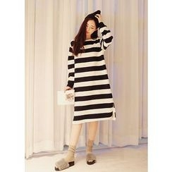 J-ANN - Cotton Stripe Pullover Dress