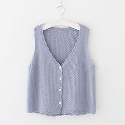 Meimei - Scallop Trim Knit Vest