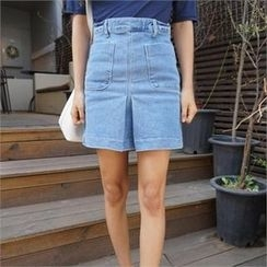 QNIGIRLS - Pleated-Front Denim Skirt