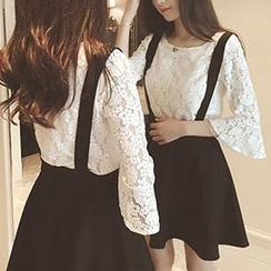 氣質淑女 - 套裝: 七分袖蕾絲上衣 + 吊帶裙