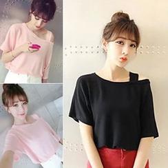 Rocho - Cutout Shoulder Short-Sleeve T-Shirt