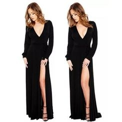 Hotprint - Deep V Long Sleeve Side Slit Maxi Dress