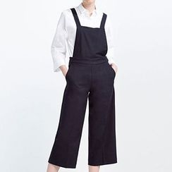 Isadora - Cross Strap Back Cropped Pinafore Jumpsuit