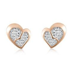 MaBelle - 14K/585 Bi-color Rose White Gold Double Heart Diamond Cut Stud Earrings