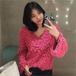LIPHOP - V-Neck Bouclé Knit Top