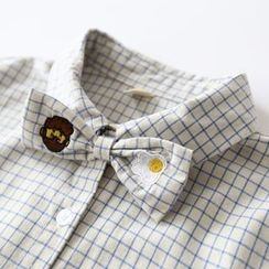 Bonbon - Embroidered Bow Check Long-Sleeve Shirt