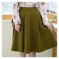 Sechuna - Band-Waist A-Line Skirt