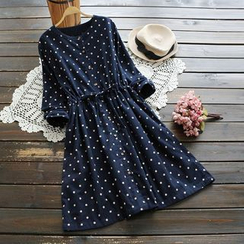 YOYO - Long-Sleeve Drawstring Dotted Dress