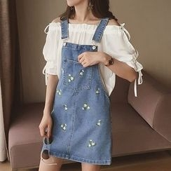 Cocofield - Embroidered Denim Pinafore Dress