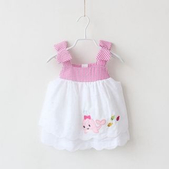Cuckoo - Kids Whale Embroidered Gingham Sleeveless Dress