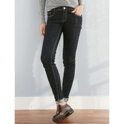 FROMBEGINNING - Stitched Skinny Jeans