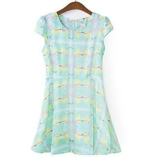 Flower Idea - Cap-Sleeve Printed Chiffon Dress