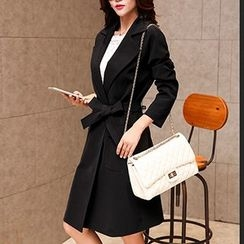 Romantica - Notched-Lapel Belted Snap-Button Coat