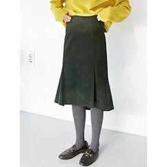 FROMBEGINNING - Dip-Back Corduroy Midi Skirt