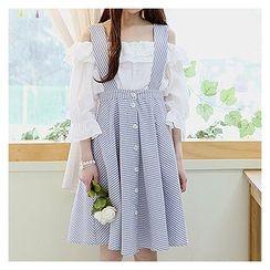 Sechuna - Buttoned-Front Stripe Jumper Skirt