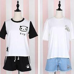 Rega - Set: Print Short Sleeve T-Shirt + Contrast Trim Shorts