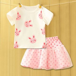 Madou - Babies Set: Printed T-Shirt + Skirt