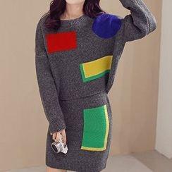 Birdwatch - Set: Color Block Sweater + Knit Skirt