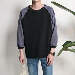 子俊 - 拼色七分袖套衫