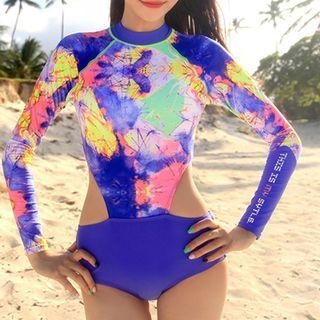 Roseate - Printed Long-Sleeve Cutout Swimsuit