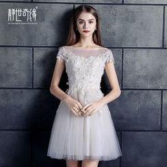 靜世奇緣 - 短袖刺繡禮服裙