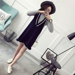Qimi - Contrast Trim Knit Pinafore Dress