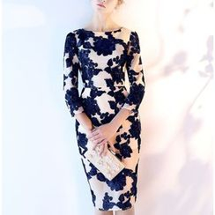 Royal Style - Floral 3/4-Sleeve Cocktail Dress