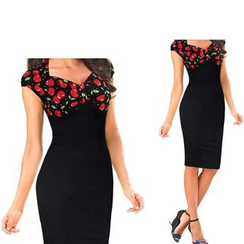 Forest Of Darama - Cap Sleeve Floral Print Sheath Dress