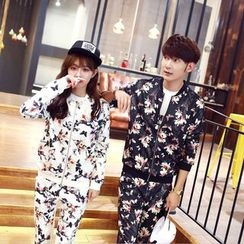 Sienne - Couple Matching Set: Floral Print Baseball Jacket + Pants
