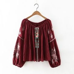 Amoura - Embroidered Long-Sleeve Blouse