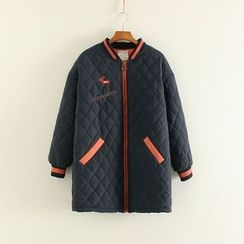 Mushi - Quilted Long Bomber Jacket