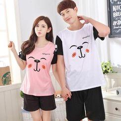 PJ Party - Couple Matching Pajama Set: Short-Sleeve Printed T-Shirt + Shorts