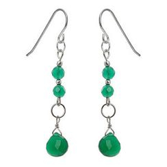 Keleo - Silver green onyx earrings