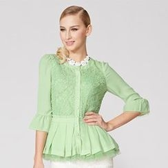 O.SA - Crochet-Panel Pleated Peplum Blouse